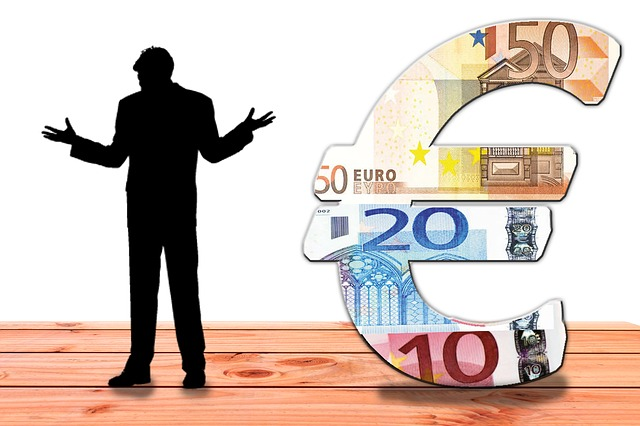 člověk a peníze, silueta, euro